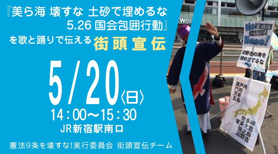 『美ら海 壊すな 土砂で埋めるな5.26国会包囲行動』を歌と踊りで伝える街頭宣伝(5月20日)